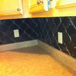 completed beveled arabesque tile corner
