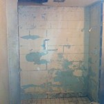 Shower after outside block wall removed