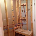 Rough in plumbing and bench complete, bathroom remodeling columbia mo
