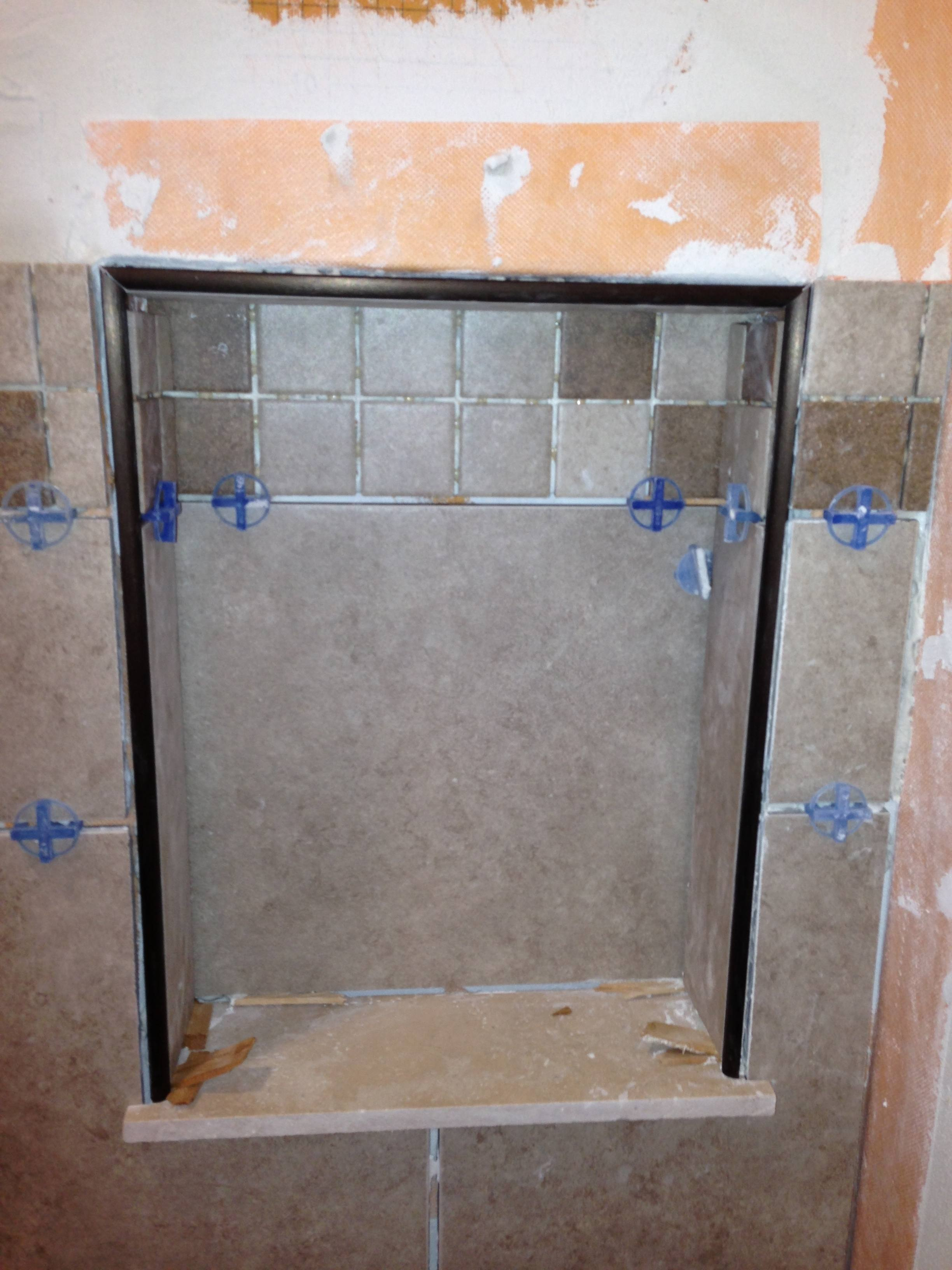 Tiled Niche With Metal Trim Columbia Missouri Bathroom