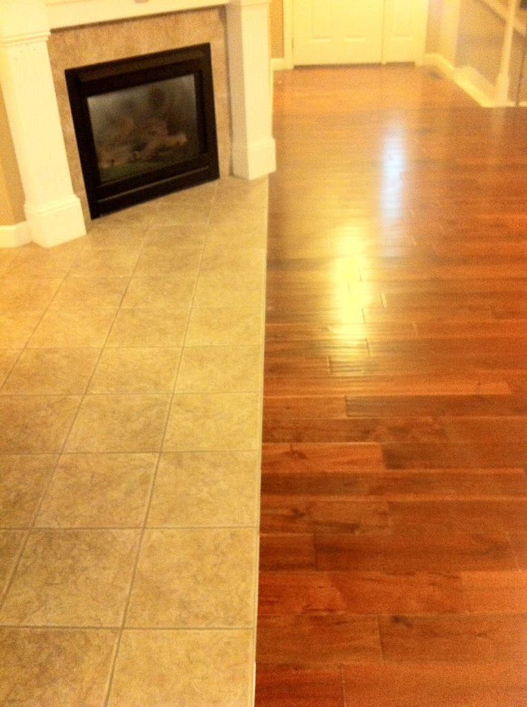 Laminate flooring transition laminate flooring hallway for Wood floor next to tile