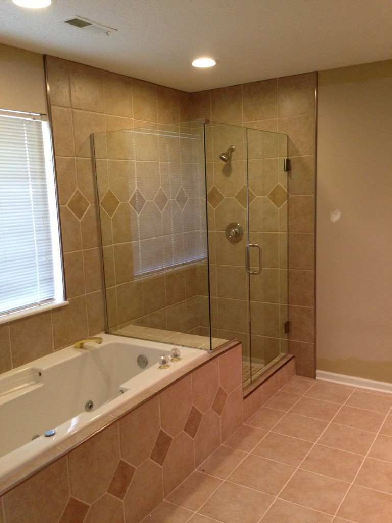 Custom Shower With Clear Glass Frame Less Shower Door