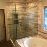 bathroom remodeling columbia mo, completed shower wood look tile