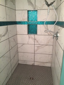 Penny round mosaic glass hex tile floor recessed niche curb less shower